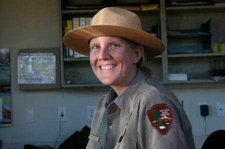La ranger all'ingresso del parco del Gran Canyon