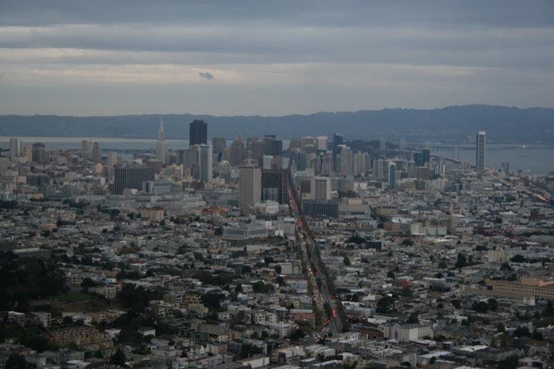 il centro di San Francisco visto dalle Twin Peaks